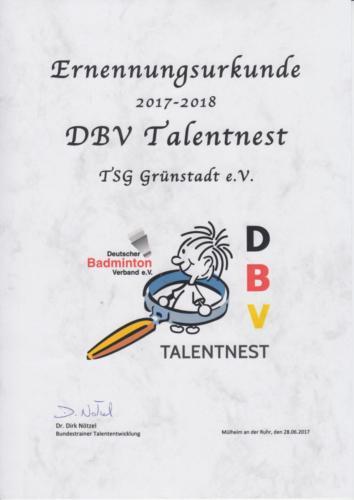 Talentnest Urkunde